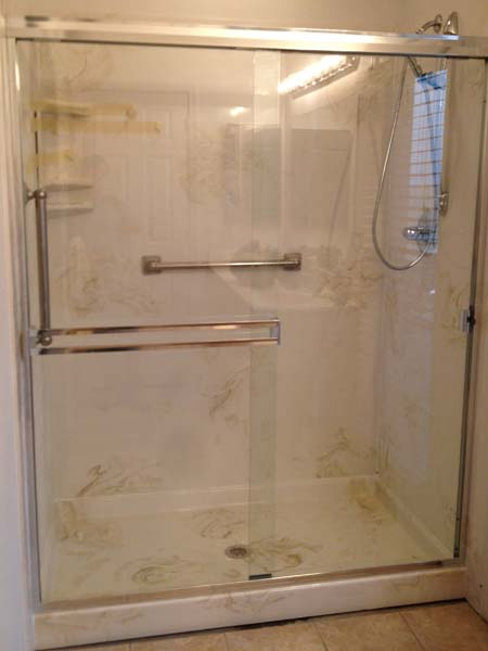 Walk In Shower – 34x60x72 Marble Shower Pan & 3 Wall Surround
