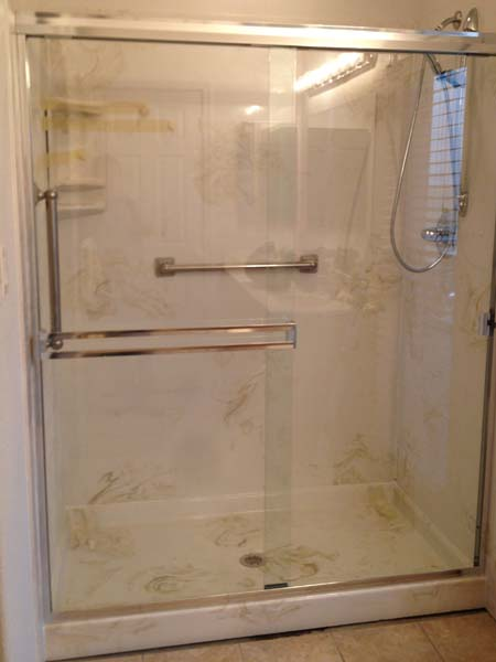 Walk In Shower – 36x60x72 Marble Shower Pan & 3 Wall Surround